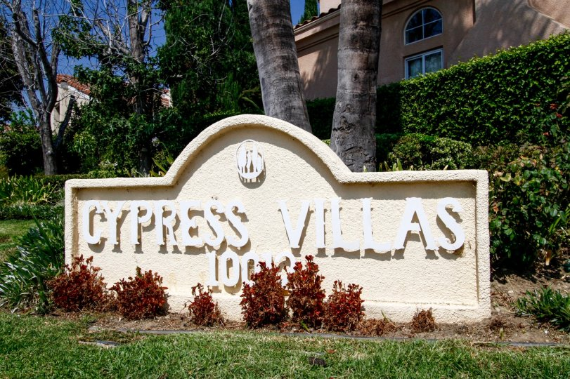 The sign welcoming you to Cypress Villas in Northridge CA