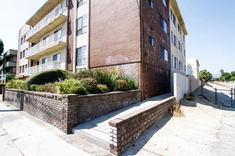 The sidewalk beside the Nordhoff Terrace building