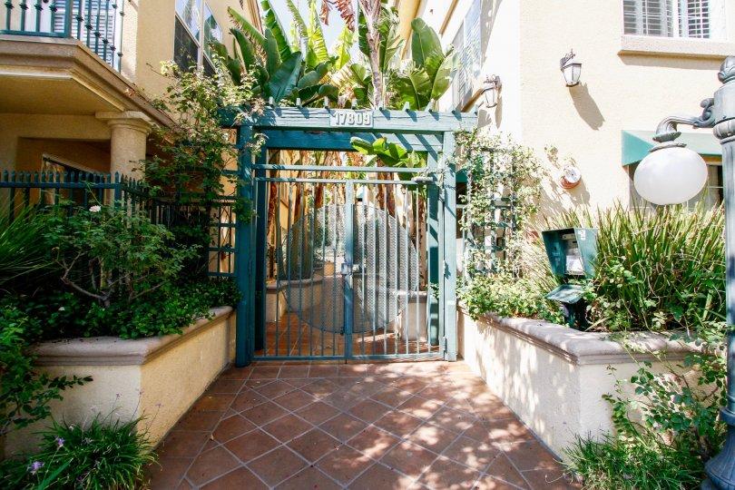 The gate into Northridge Village in Northridge CA