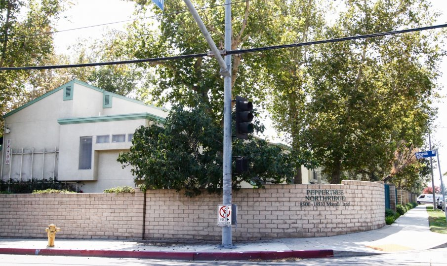 The sidewalk in front of Peppertree Northridge in Northridge CA