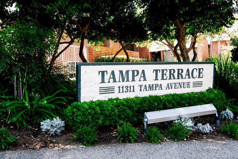 The sign welcoming you into Tampa Terrace at Northridge CA