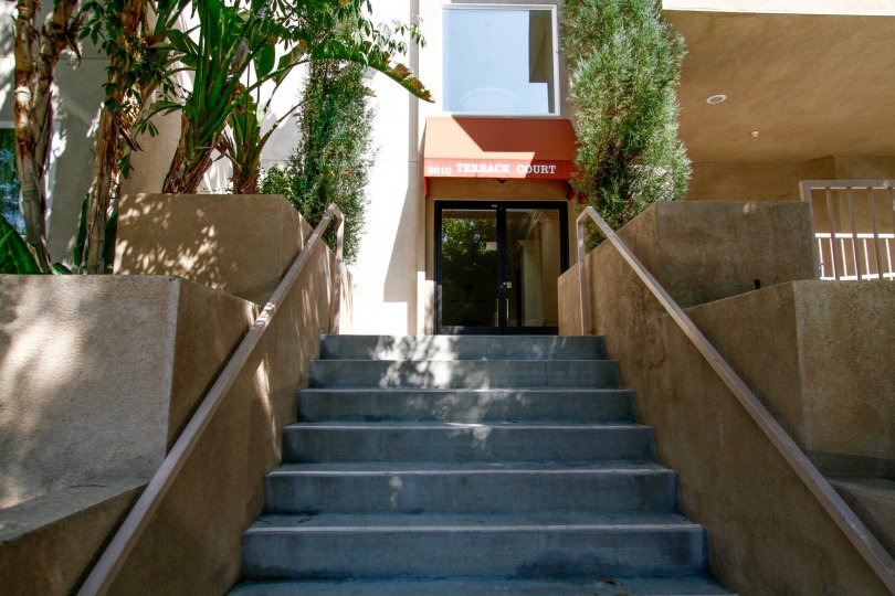 The entryway up to Terrace Court in Northridge CA