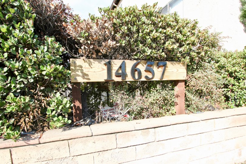 Wooden address sign nestled in shrubs set atop a stone retaining wall