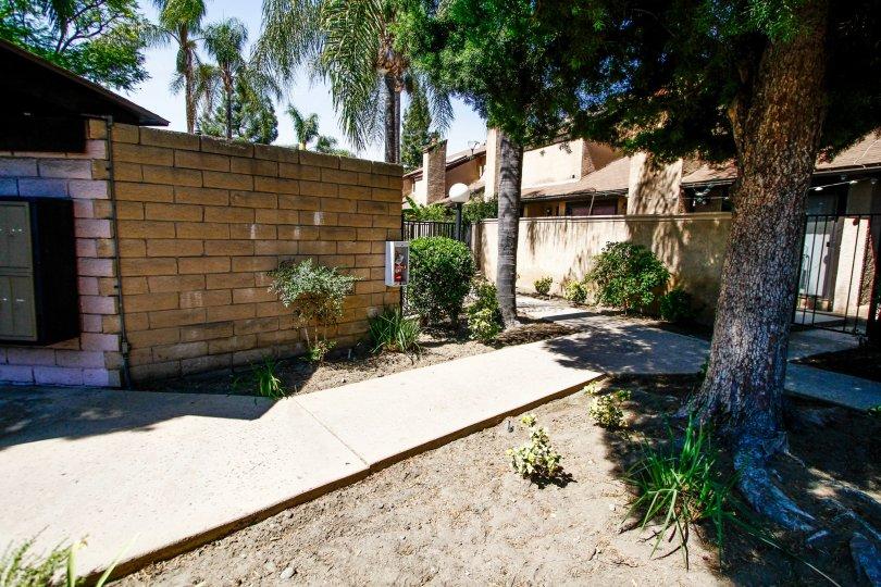 The walkway through Woodman Townhomes in Panorama City California