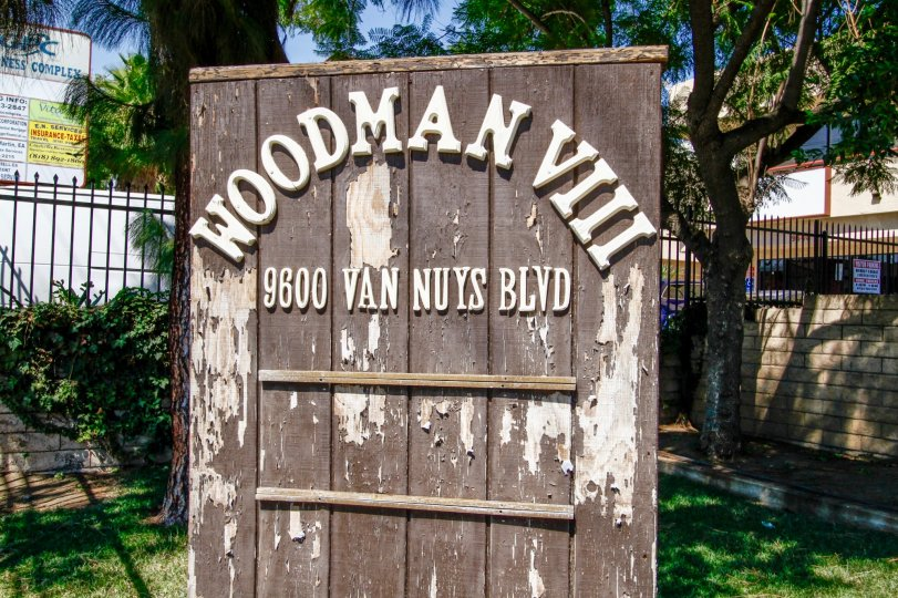 The welcoming sign into Woodman VIII