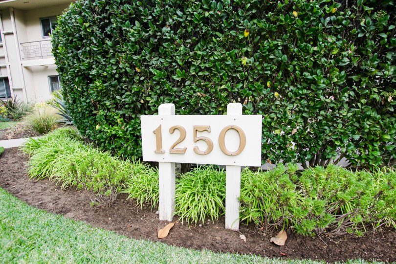 The address plaque at 1250 S Orange Grove Blvd in Pasadena, California