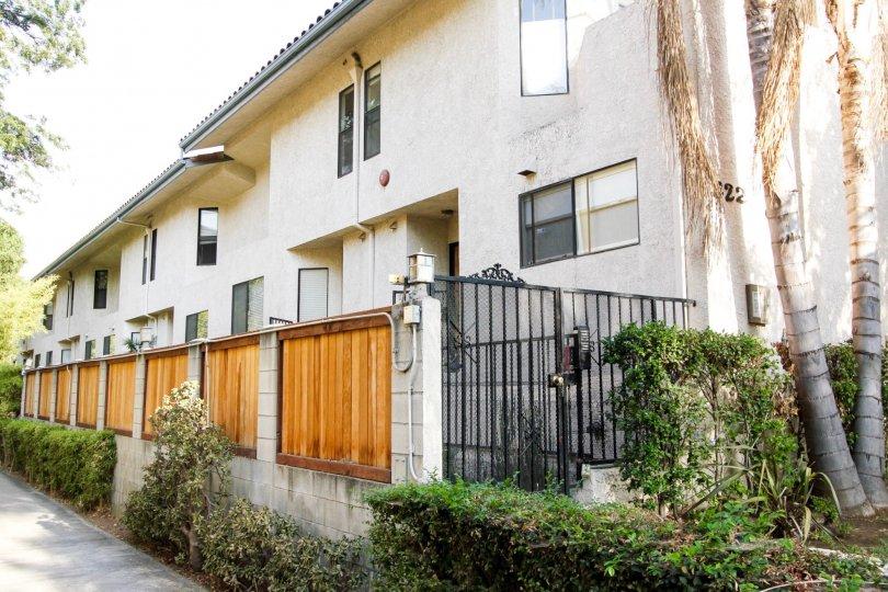 The patios for units at 322 S Mentor Ave in Pasadena, California