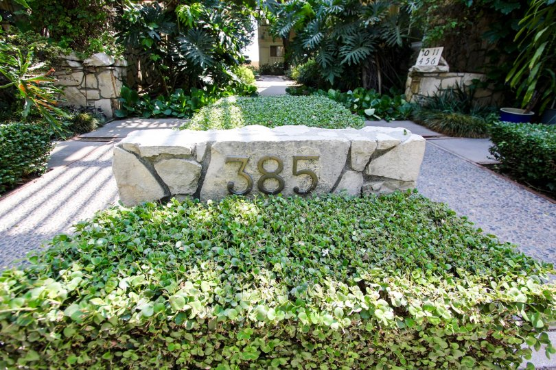 The address marker for 385 Cliff Dr