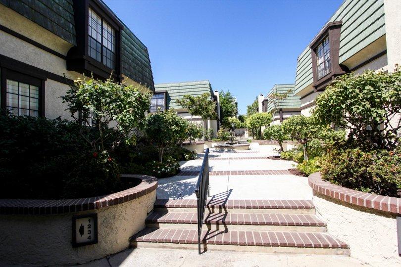 The walkway through 885 S Orange Grove Blvd in Pasadena, California
