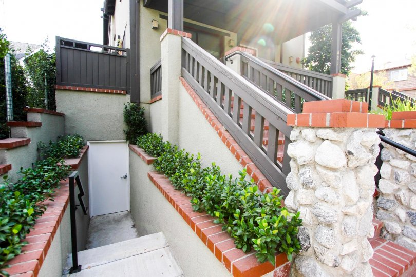 The stairs leading down to Alpine Western Villa in Pasadena, California