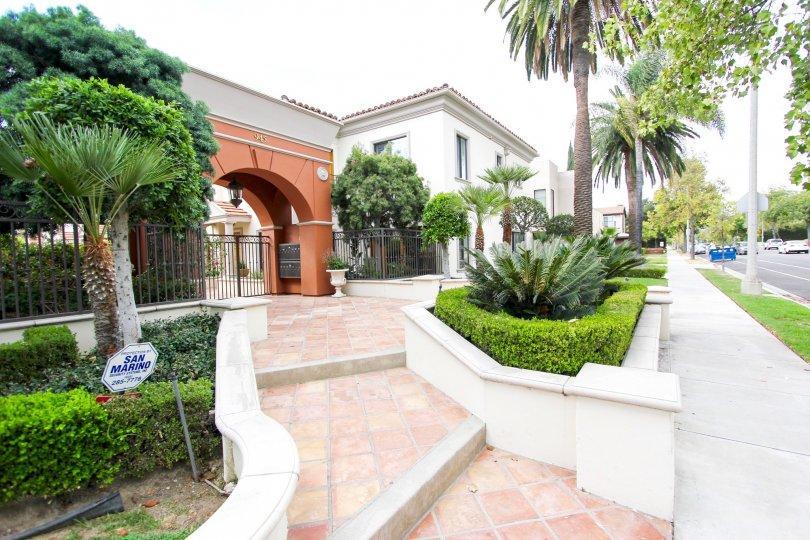 The entryway into the Bellasino Villas in Pasadena, California
