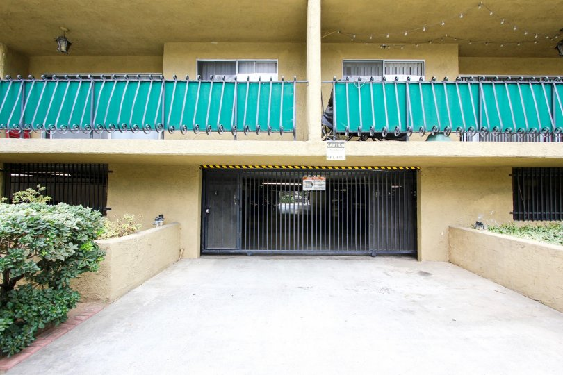 The parking area for residents of Casa California in Pasadena, California