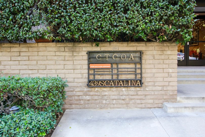 The sign announcing Catalina Townhomes in Pasadena, California