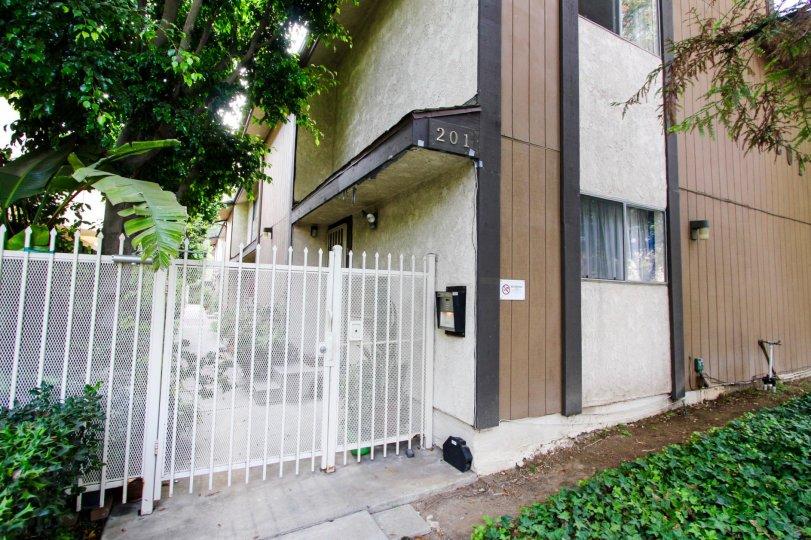 The gate into Catalina Villas in Pasadena, California