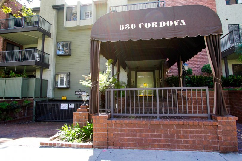 The address above the entrance into Cordova Park Villas