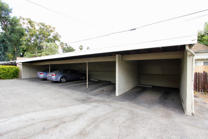 The garages in the Euclid Gardens property