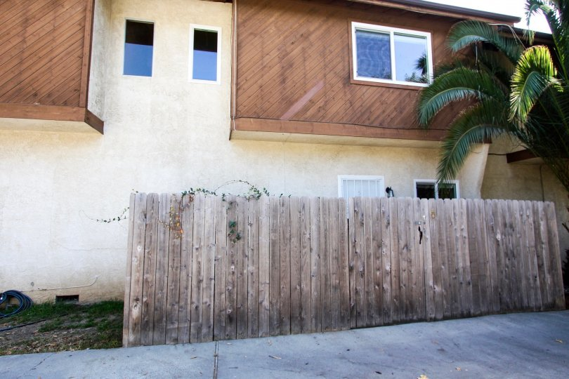 The privacy fence around Garfield Condominiums in Pasadena, California