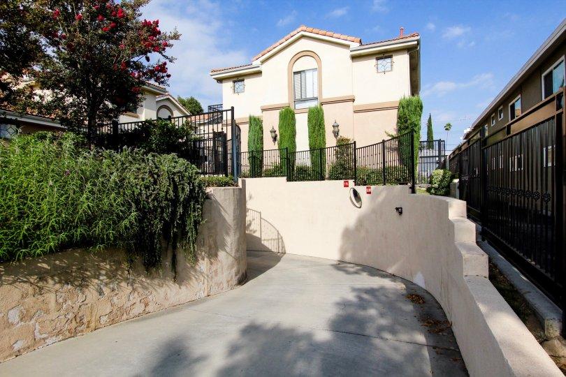 The driveway up to Greenwood Village in Pasadena, California