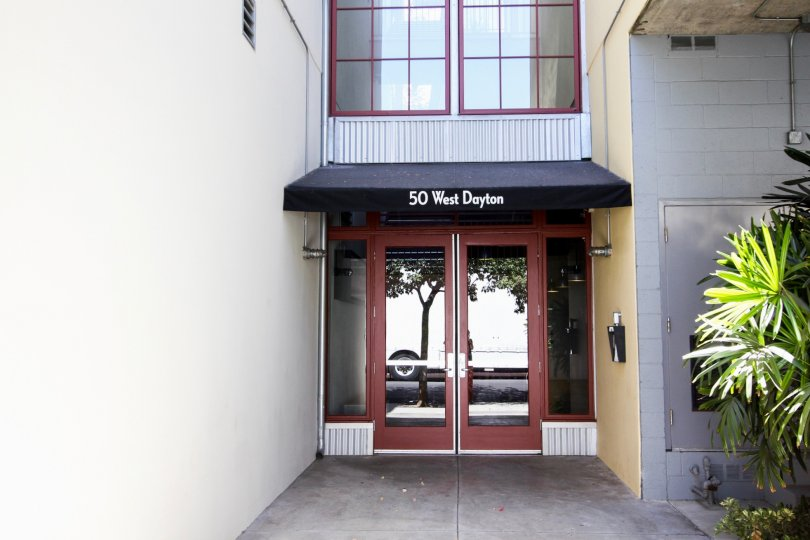 The entrance into Library Hall Lofts in Pasadena, California