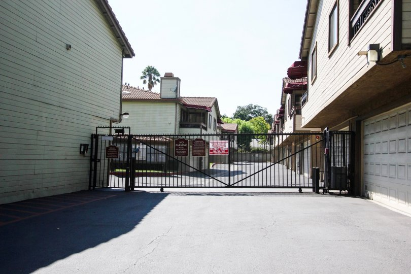 The gate for parking at Los Robles Townhomes in Pasadena, California