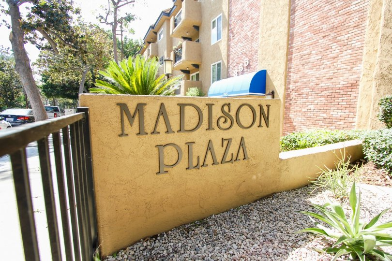 The sign announcing Madison Plaza in Pasadena, California