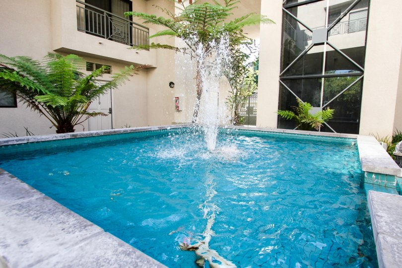 The pool area in Oak Knoll Manor in Pasadena, California
