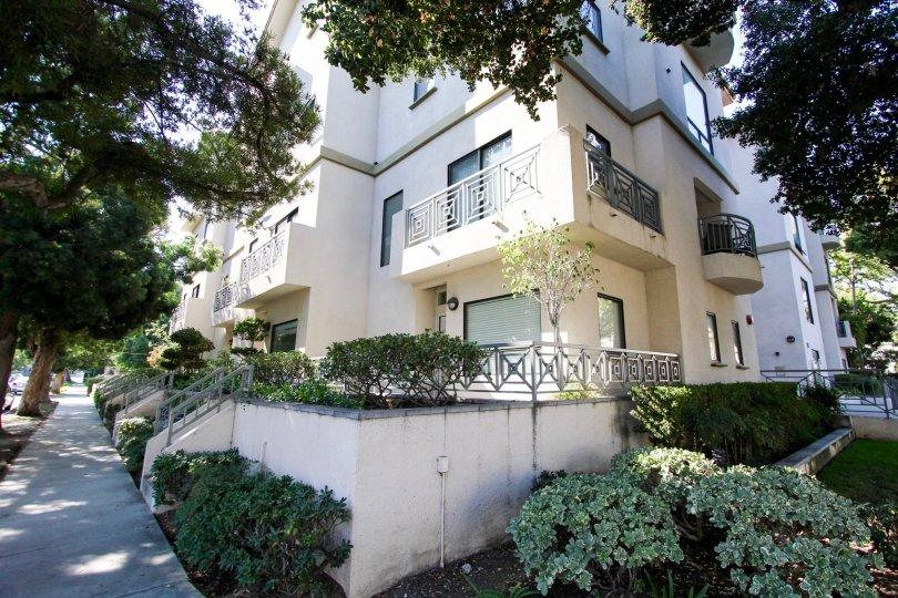 The balconies seen at Oak Knoll Manor in Pasadena, California