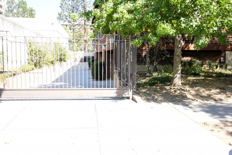 The gate for parking access at Oakland Condominiums