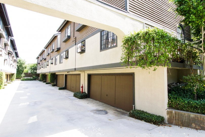 The garages for residents in Oaks Townhomes