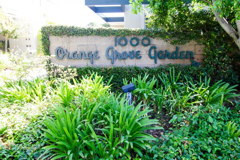 The sign announcing the Orange Grove Gardens building
