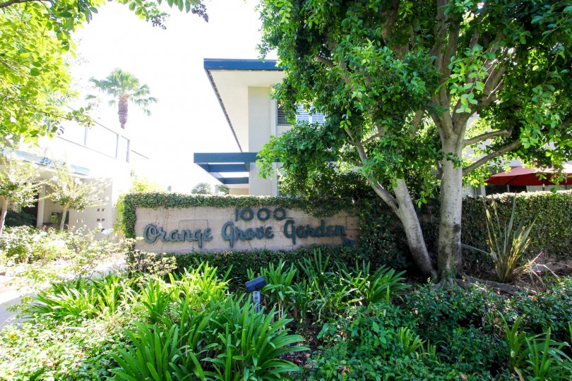 The address for Orange Grove Gardens in Pasadena, California