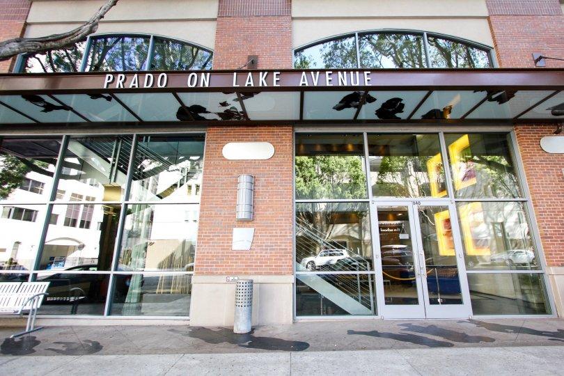 The sign announcing Prado on Lake Avenue located in Pasadena, California