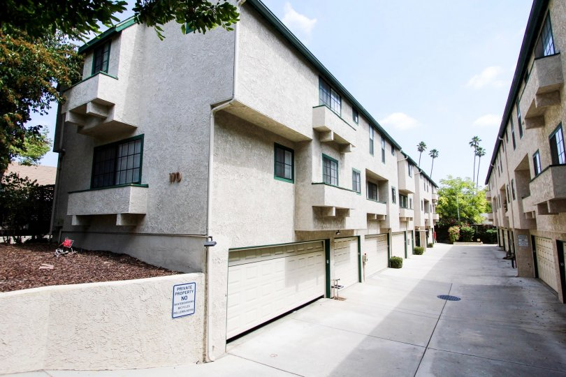 The garages for resident parking in Sierra Bonita Townhomes