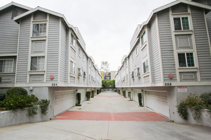 The driveway into the parking area for Silvertree in Pasadena, California