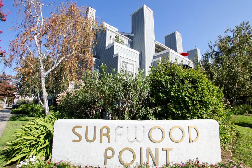 The sign announcing Surfwood Point in Pasadena, California