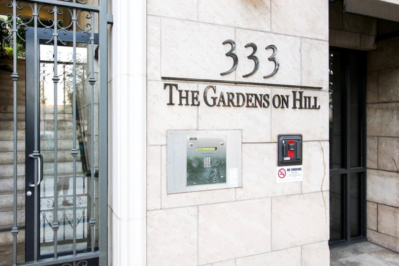The address for The Gardens on Hill in Pasadena, California
