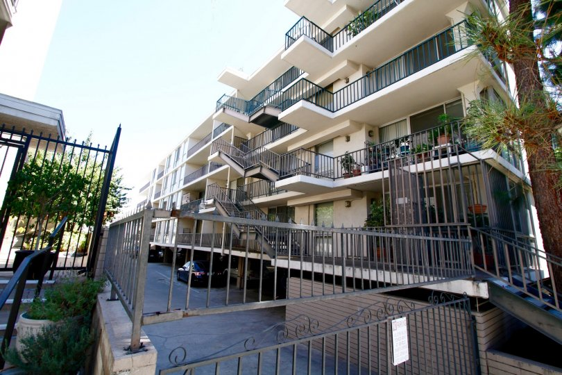 The balconies at The Odyssey in Pasadena, California