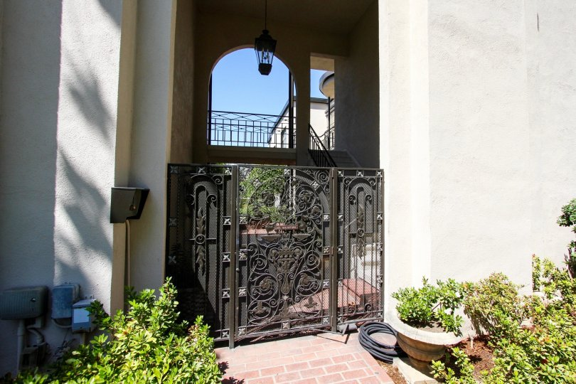 The gate into the Trianon in Pasadena, California