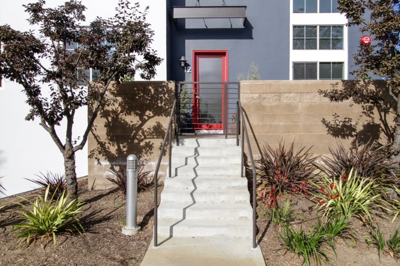 The stairs up to the entrance into Bridgeway Mills in Playa Vista