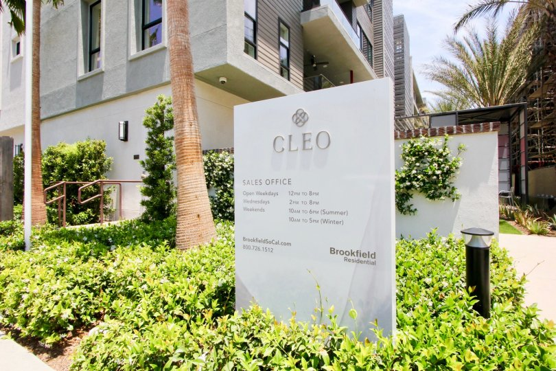 Signage to Cleo building and her surrounding greenery, Playa Vista, California