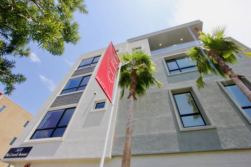 View of Cleo apartment building from the street, showing a Cleo flag, in Playa Vista, CA