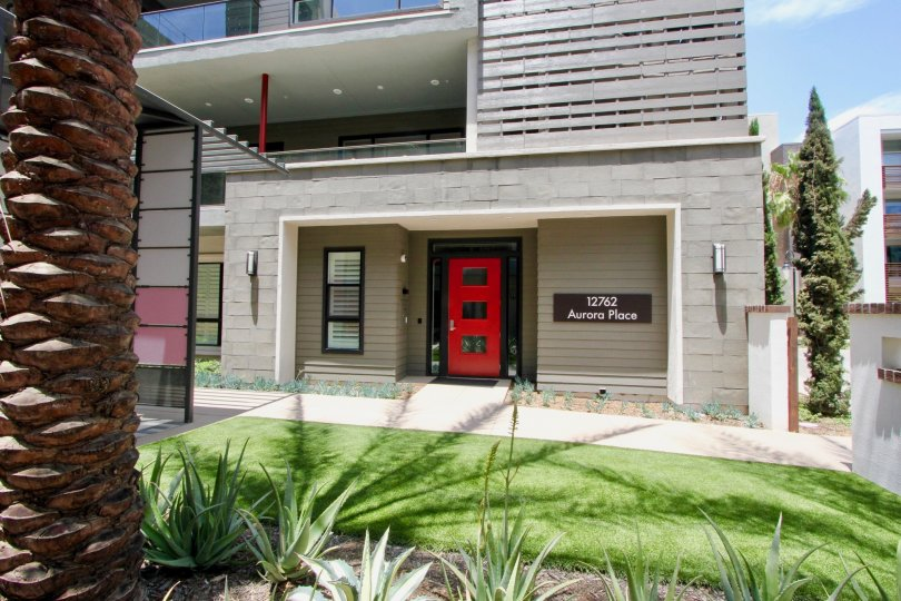 A modern home with red door in Playa Vista, California