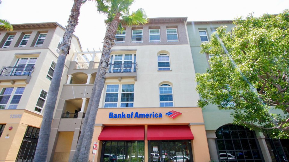 Bank of America entrance with trees below The Lofts community in Playa Vista, CA.