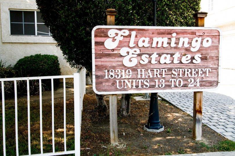 The sign announcing the Flamingo Estates in Reseda California