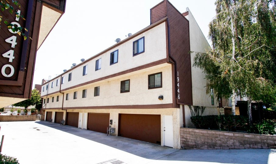 The garages for resident parking at the Shirley East Townhomes
