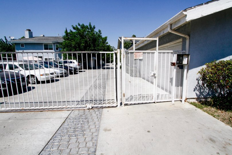The gate into Yellostone Patio Homes in Reseda California