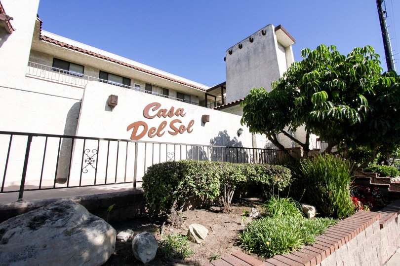 The Casa Del Sol name on the building in San Pedro California