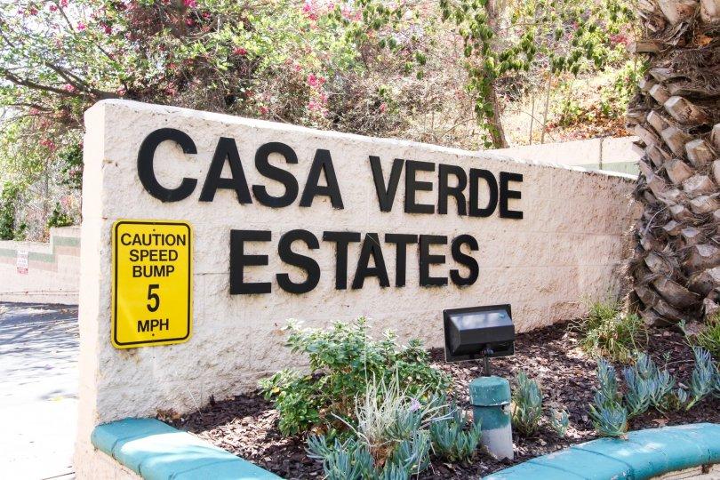 The Casa Verde Estates sign in San Pedro California