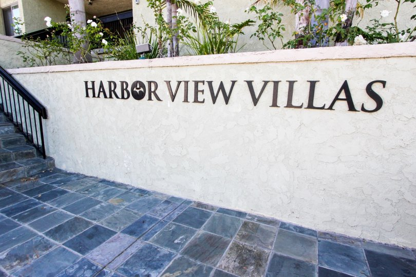 The sign into Harbor View Villas