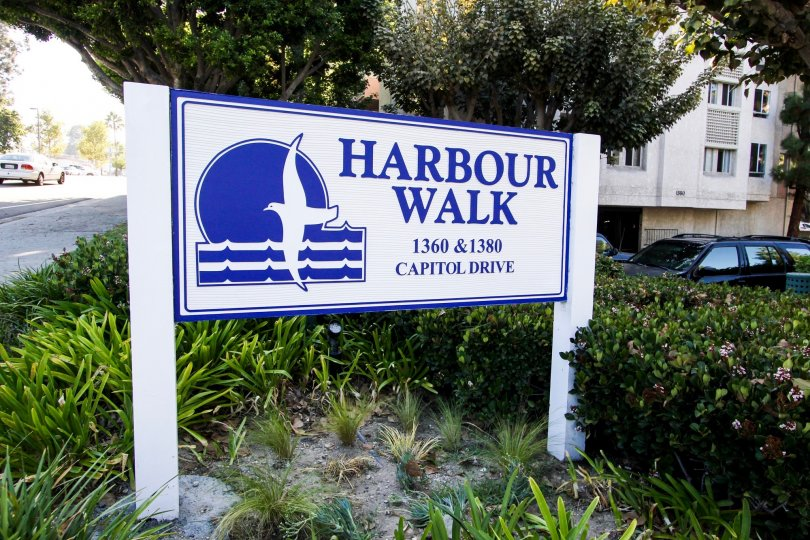 The welcoming sign into Harbour Walk  in San Pedro California